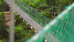 Det Steadicam skottet av en hängande upphängningbro i Ecoen parkerar i den Kuala Lumpur staden stock video