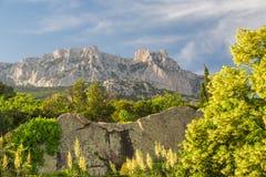 Det steniga berg nå en höjdpunkt Arkivfoto