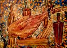 Det stillebenjamonen och vinet stock illustrationer