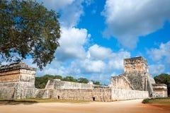 Det stora Ballcourt komplexet på Chichen Itza, Mexico Arkivfoto