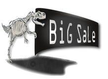 Det stora Rex dinosaurieskelettet med ett tecken i hans tafsar cheapening Royaltyfria Foton