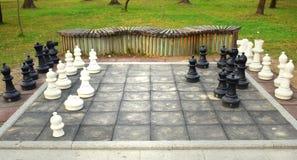 Det stora schackbrädet med enorma stycken i parkerar royaltyfria bilder