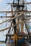 Det stora seglingskeppet östliga Indiaman Arkivbilder