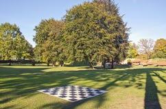 Det stora utomhus- tomma schackbrädet i höst parkerar Arkivbild