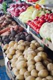 Det stora valet av nya frukter och grönsaker på marknad kontrar royaltyfri bild