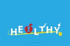 Det sunda ordet i frukter bildar med att mäta bandet, vård- begrepp Arkivfoto