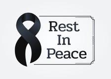 Det svarta bandtecknet och vilar i fredtext i linjen ramen för respekt för den begravnings- vektordesignen royaltyfri illustrationer