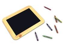 det svarta brädet crayons tappning royaltyfri illustrationer