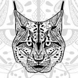 Det svartvita bobcattrycket med etniska zentanglemodeller Arkivfoto