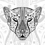 Det svartvita gepardtrycket med etniska zentanglemodeller Färgläggningbok för antistress vuxna människor Konstterapi Royaltyfri Foto