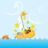 Det tecknad filmAutumn Fall Colorful Fruit Boat havet lämnar vektorillustrationen royaltyfri illustrationer