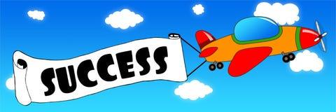 Det tecknad filmflygplanet och banret med FRAMGÅNG smsar på en bac för blå himmel royaltyfri illustrationer