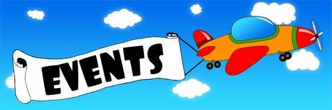 Det tecknad filmflygplanet och banret med HÄNDELSER smsar på en baksida för blå himmel vektor illustrationer