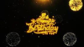 det 5th för önskahälsningar för den lyckliga födelsedagen kortet, inbjudan, berömfyrverkeri kretsade