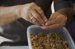 Det thailändska folket som lagar mat thai kokkonst som kallas Chor Muang, är den thai kungliga personen Royaltyfria Foton