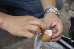 Det thailändska manfolket som skalar skalet, kokade ägg onsen i varm vår för PA Tueng på Mae Chan i Chiang Rai, Thailand arkivbild