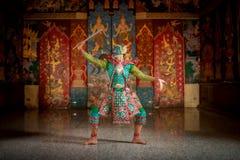 Det THAILAND KHON teckenet i den Ramayana berättelsen maskerade traditionellt royaltyfria foton