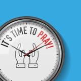 Det tid för ` s att be Vit vektorklocka med Motivational slogan Parallell metallklocka med exponeringsglas Be handsymbolen royaltyfri illustrationer