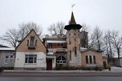 Det tidigare Meyer huset som byggs i 1896 Pskov Ryssland royaltyfria bilder