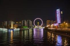 Det Tientsin ögat på natten royaltyfria foton