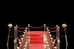 Det tomma podiet med röd matta och barriären rope, tolkningen 3D Royaltyfria Foton
