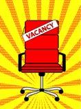 Det tomma röda kontorsstol och tecknet uttrycker vakans på retro popkonst Co royaltyfri illustrationer