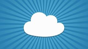 Det Toon molnet som är popup med att rotera, rays på blå bakgrund arkivfilmer