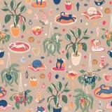 Det toppna gulliga Hygge julhemmet kyler ut med varma drinkar, hem- växter och katter Sömlös vektorrepetitionmodell royaltyfri illustrationer