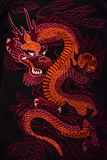 Det traditionella symbolet för röd drake av Kina arkivbilder