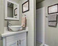 Det trevliga badrummet med grå färger gör grön väggar och den enkla dekoren Royaltyfri Foto