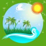 Det tropiska öhjälpmedlet går på tjänstledigheter och destinationer Arkivfoton