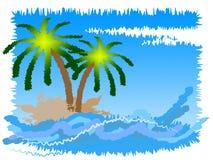 Det tropiska öhjälpmedlet går på tjänstledigheter och stranden Arkivbild