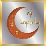 Det turkiska eidhälsningkortet med den växande månen för muslim semestrar Royaltyfria Bilder