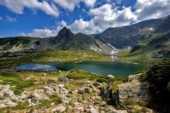 Det tvilling-, de sju Rila sjöarna, Rila berg Royaltyfria Bilder