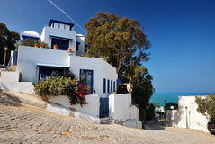 Det typiska richhuset i Sidi Bou sade Arkivbilder