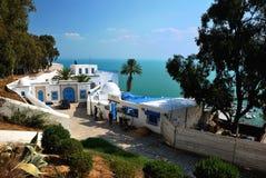Det typiska richhuset i Sidi Bou sade Arkivfoton