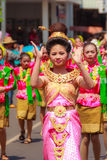 Det Udom, Ubon Ratchathani, Thailand - April 13, 2015: Beautiful. Parade and Dancing Shows in Songkran Festival Celebration. The Songkran festival is Thai New Royalty Free Stock Image