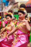 Det Udom, Ubon Ratchathani, Thailand - April 13, 2015: Beautiful. Parade and Dancing Shows in Songkran Festival Celebration. The Songkran festival is Thai New Royalty Free Stock Photos