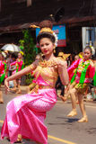 Det Udom, Ubon Ratchathani, Thailand - April 13, 2015: Beautiful. Parade and Dancing Shows in Songkran Festival Celebration. The Songkran festival is Thai New Royalty Free Stock Photography