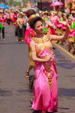 Det Udom, Ubon Ratchathani, Thailand - April 13, 2015: Beautiful. Parade and Dancing Shows in Songkran Festival Celebration. The Songkran festival is Thai New Stock Photo