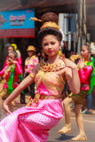 Det Udom, Ubon Ratchathani, Thailand - April 13, 2015: Beautiful. Parade and Dancing Shows in Songkran Festival Celebration. The Songkran festival is Thai New Royalty Free Stock Images
