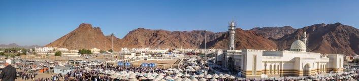 Det Uhud berget är ett av det historiska stället i islamisk historia Arkivbild