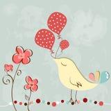 Lite fågel med ballongen Arkivfoto