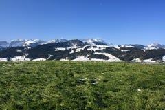 Det underbara schweiziska fjällänglandskapet i Schweiz Royaltyfri Fotografi