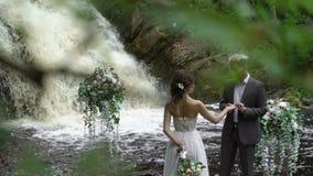 Det unga bröllopparutbytet ringer på ceremoni nära vattenfallet arkivfilmer