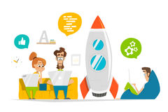 Det unga laget som arbetar på startup, startar upp i modernt kontor stock illustrationer