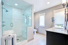 Det uppfriskande badrummet med går i dusch och järn- element arkivfoton