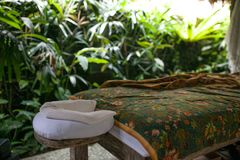 Det utomhus- badet runt om vändkretsgrönska för kopplar av Spa organiskt och sk royaltyfri fotografi