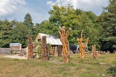 Det utomhus- konstseminariet med träträdgården skulpterar i Chynadievo, Ukraina Royaltyfri Foto