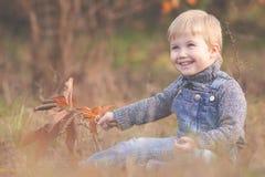 Det utomhus- lyckliga barnet, det gula fältet lyftte hans händer Höst nedgång Arkivfoton